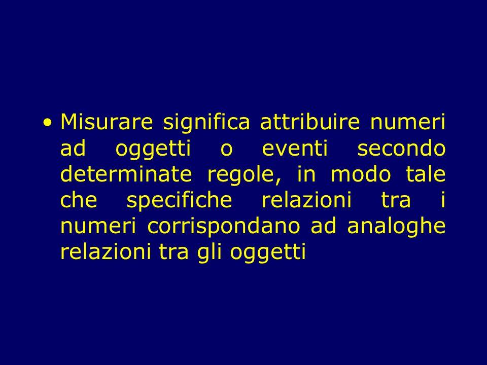 Misurare significa attribuire numeri ad oggetti o eventi secondo determinate regole, in modo tale che specifiche relazioni tra i numeri corrispondano ad analoghe relazioni tra gli oggetti