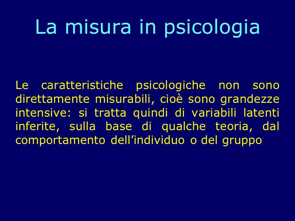 La base della misurazione in psicologia è losservazione del comportamento con lobiettivo di cercare di quantificare le osservazioni del comportamento oggetto di studio