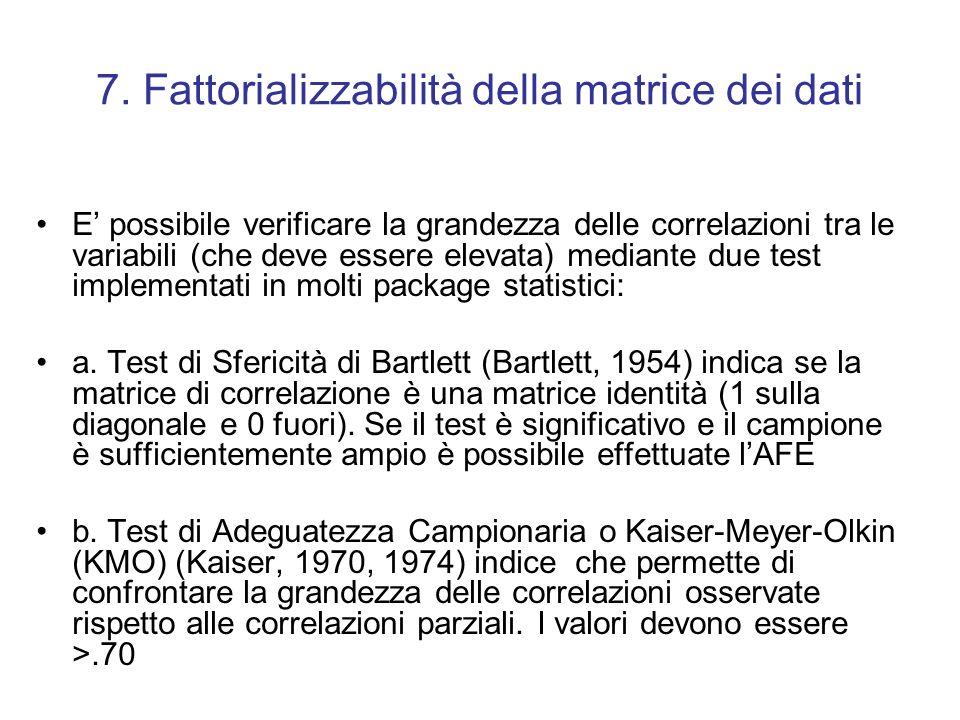 7. Fattorializzabilità della matrice dei dati E possibile verificare la grandezza delle correlazioni tra le variabili (che deve essere elevata) median