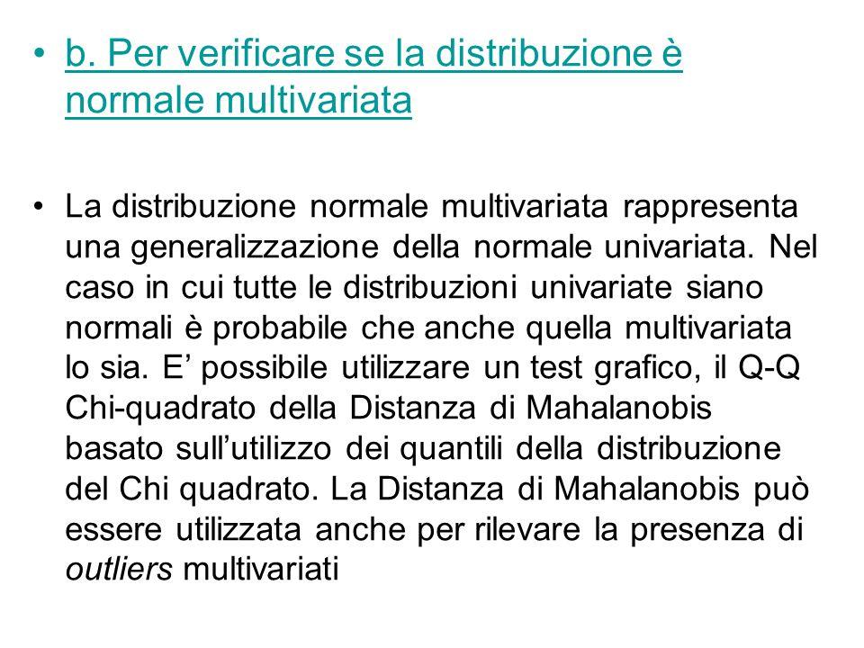b. Per verificare se la distribuzione è normale multivariata La distribuzione normale multivariata rappresenta una generalizzazione della normale univ