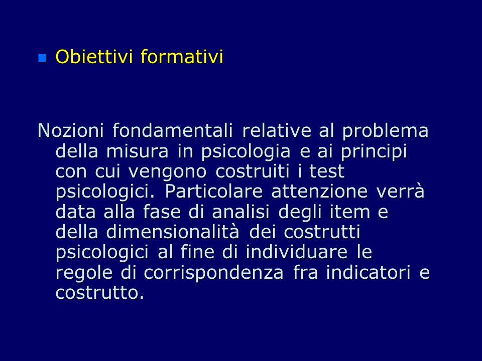 n n II Modulo (3 CFU) n Argomento Attendibilità: stabilità nel tempo e coerenza interna.