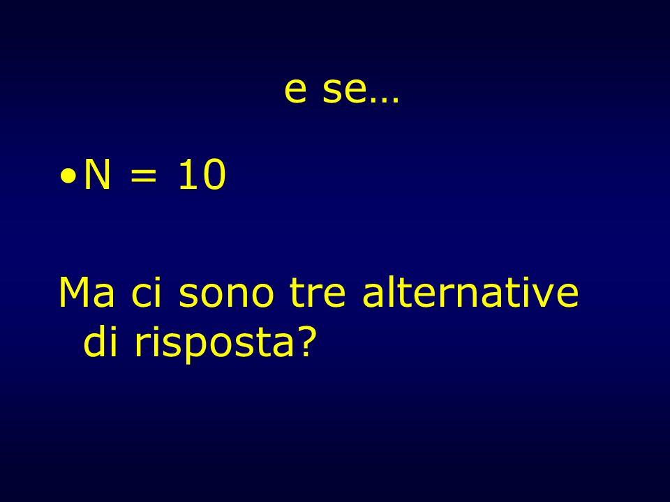 e se… N = 10 Ma ci sono tre alternative di risposta?