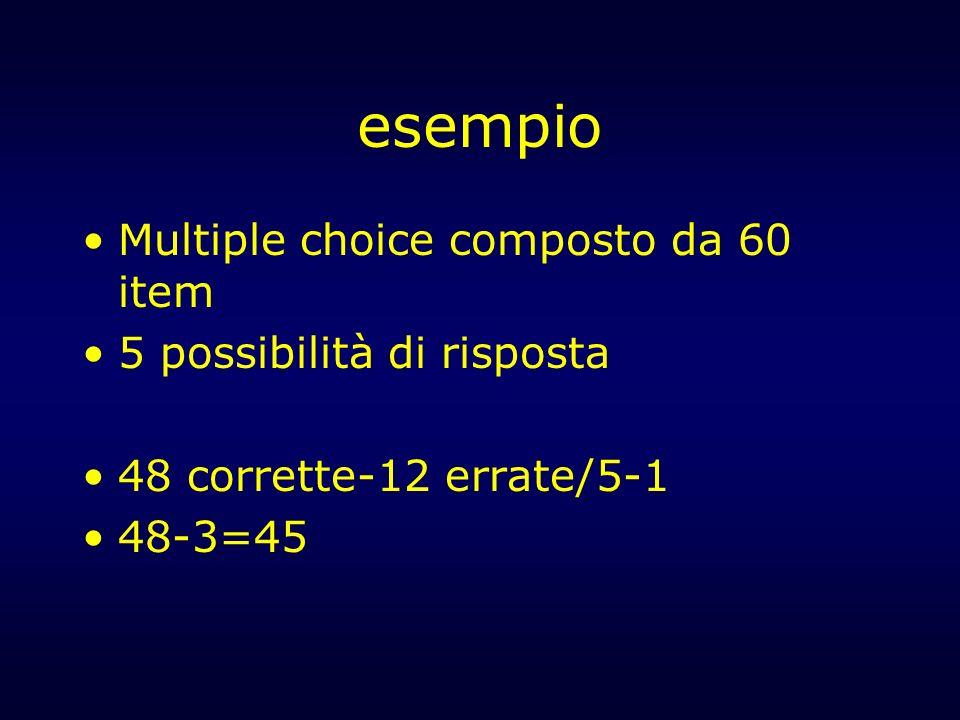 esempio Multiple choice composto da 60 item 5 possibilità di risposta 48 corrette-12 errate/5-1 48-3=45