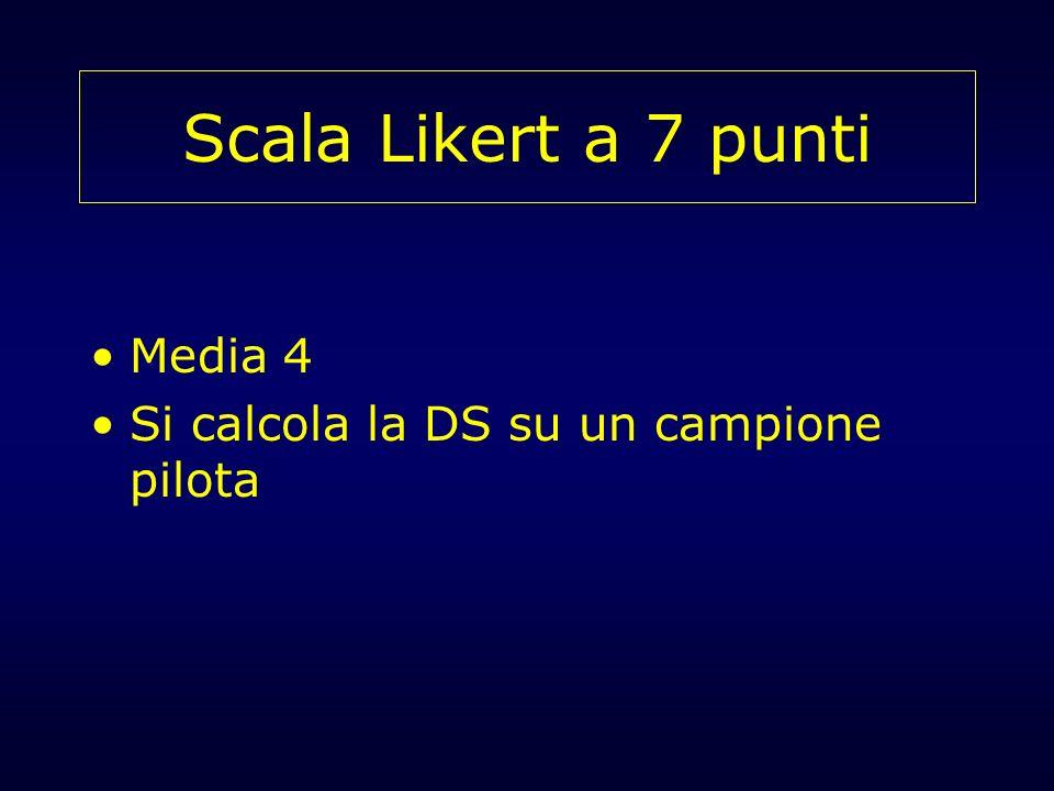 Scala Likert a 7 punti Media 4 Si calcola la DS su un campione pilota