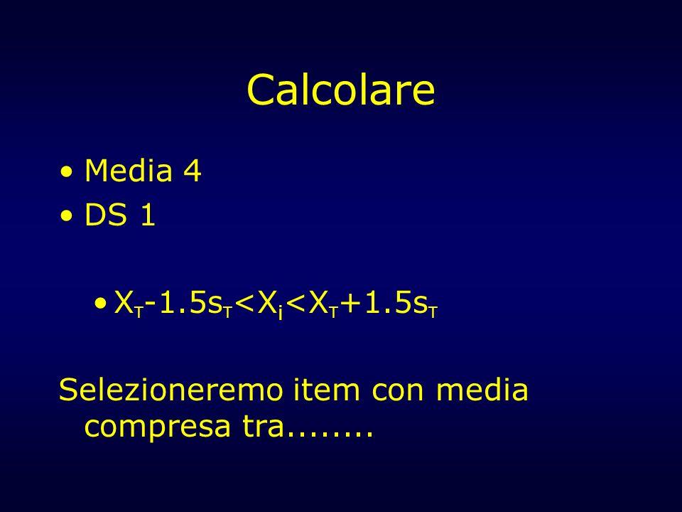 Calcolare Media 4 DS 1 X T -1.5s T <X i <X T +1.5s T Selezioneremo item con media compresa tra........