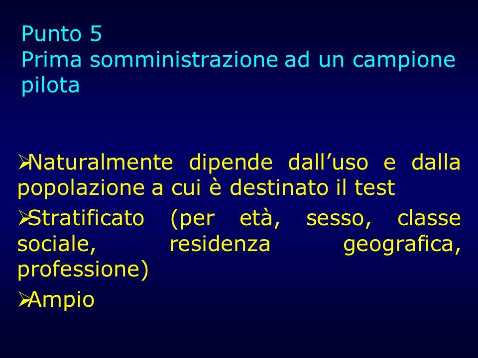 Requisiti minimi 5-10 soggetti per item (Bilanciamento per sesso (idealmente 150 maschi, 150 femmine) Campione eterogeneo