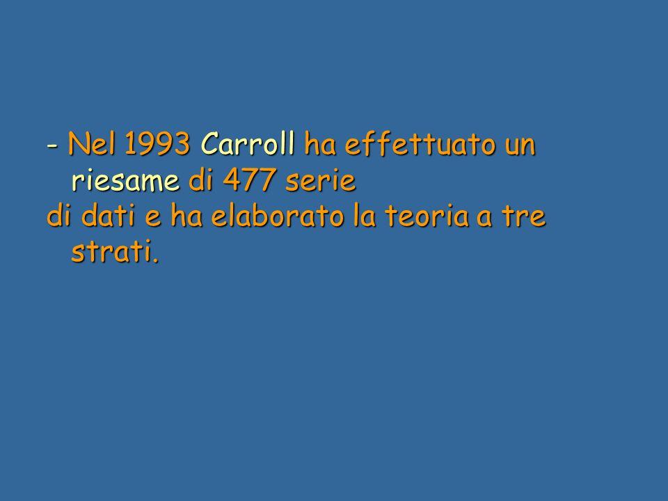 - Nel 1993 Carroll ha effettuato un riesame di 477 serie di dati e ha elaborato la teoria a tre strati.