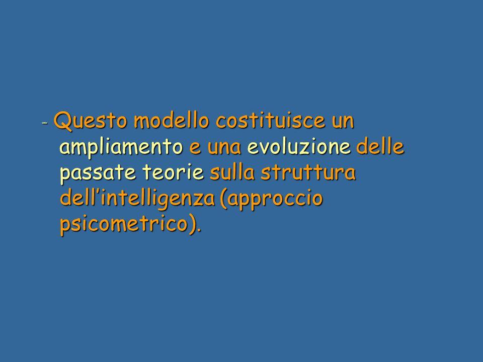 - Questo modello costituisce un ampliamento e una evoluzione delle passate teorie sulla struttura dellintelligenza (approccio psicometrico).