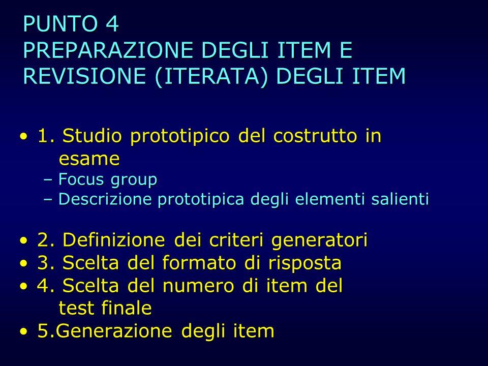 PUNTO 4 PREPARAZIONE DEGLI ITEM E REVISIONE (ITERATA) DEGLI ITEM 1.1. Studio prototipico del costrutto in esame –Focus –Focus group –Descrizione –Desc
