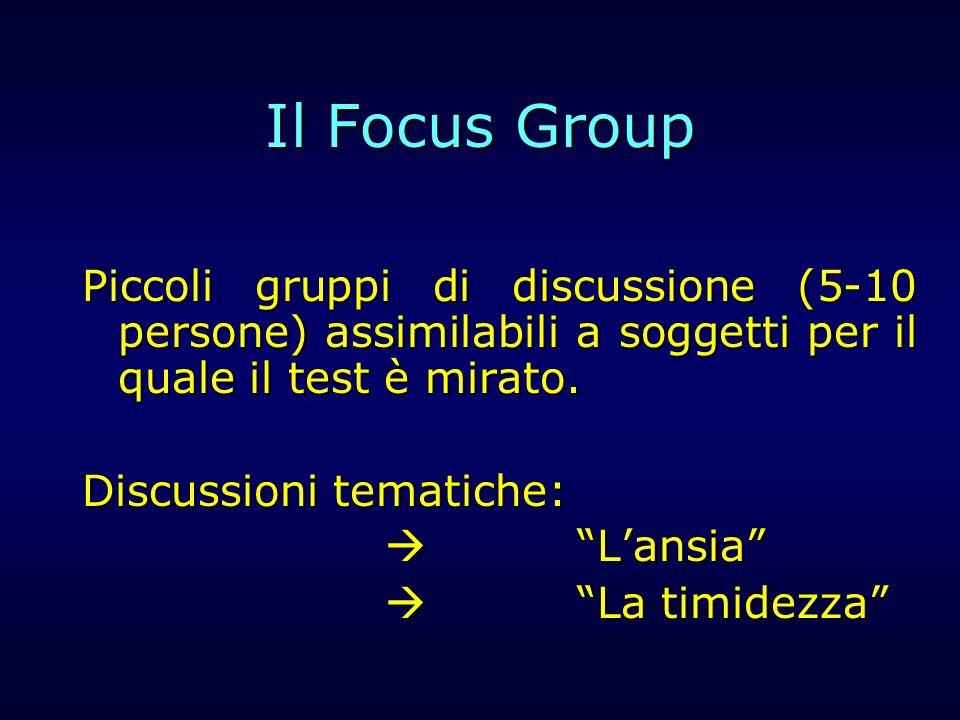 Il Focus Group Piccoli gruppi di discussione (5-10 persone) assimilabili a soggetti per il quale il test è mirato. Discussioni tematiche: Lansia Lansi