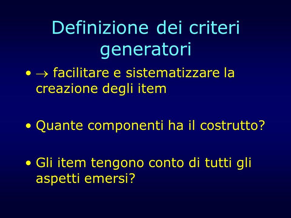 Definizione dei criteri generatori facilitare e sistematizzare la creazione degli item Quante componenti ha il costrutto? Gli item tengono conto di tu