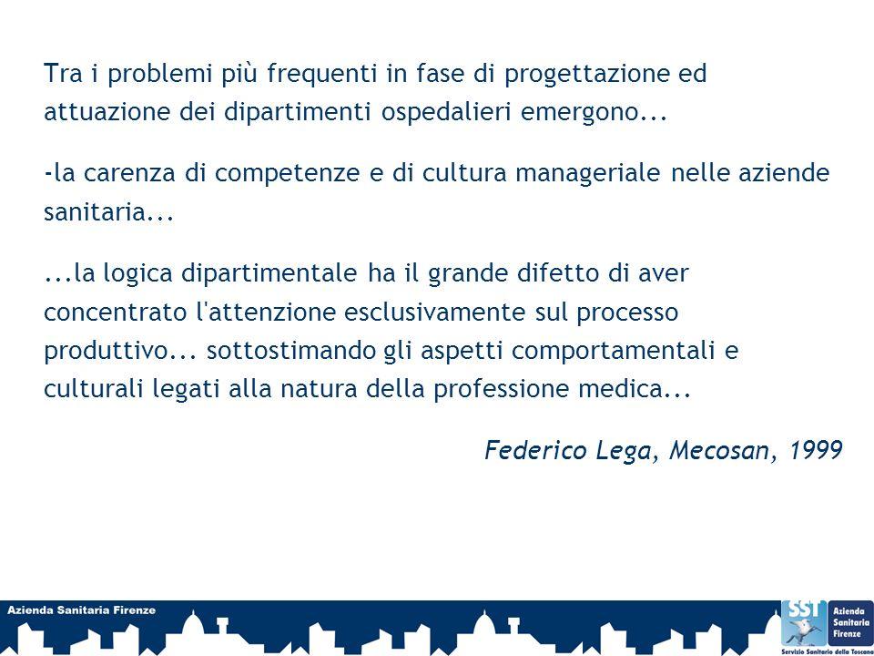 Tra i problemi più frequenti in fase di progettazione ed attuazione dei dipartimenti ospedalieri emergono... -la carenza di competenze e di cultura ma