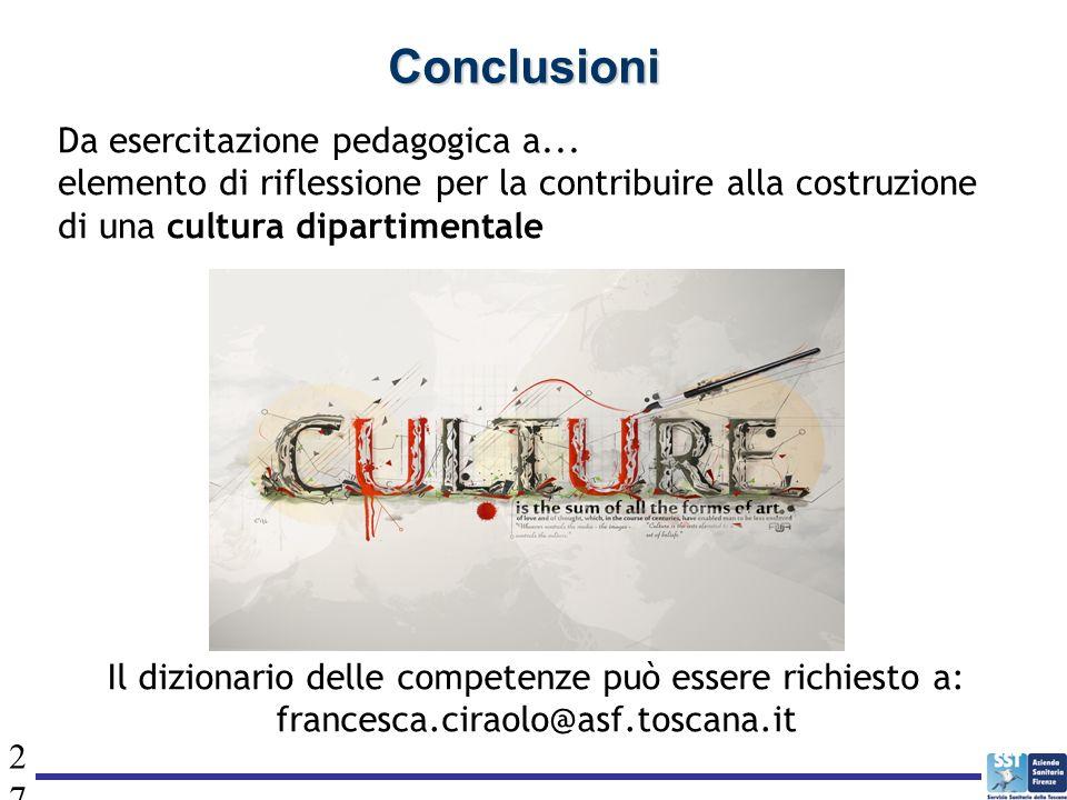 27 Conclusioni Da esercitazione pedagogica a... elemento di riflessione per la contribuire alla costruzione di una cultura dipartimentale Il dizionari