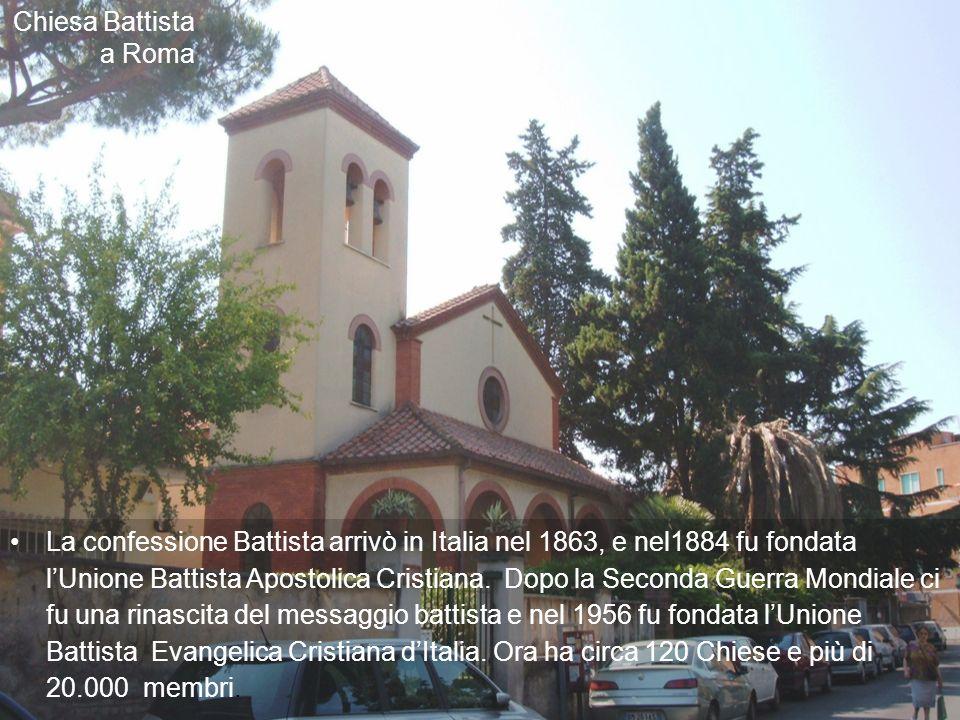 La confessione Battista arrivò in Italia nel 1863, e nel1884 fu fondata lUnione Battista Apostolica Cristiana.