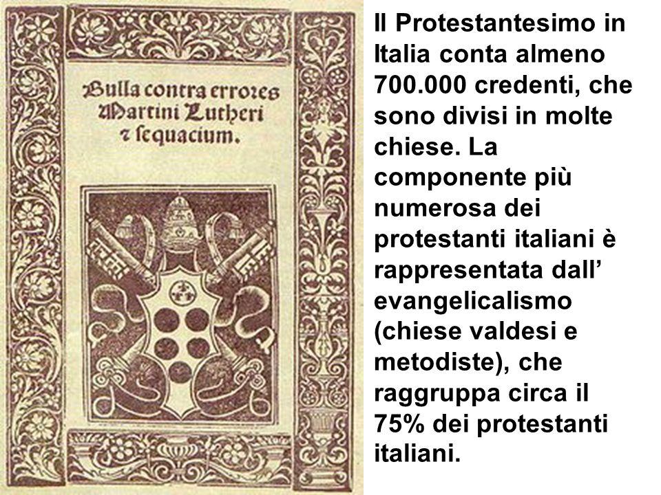 Il Protestantesimo in Italia conta almeno 700.000 credenti, che sono divisi in molte chiese.