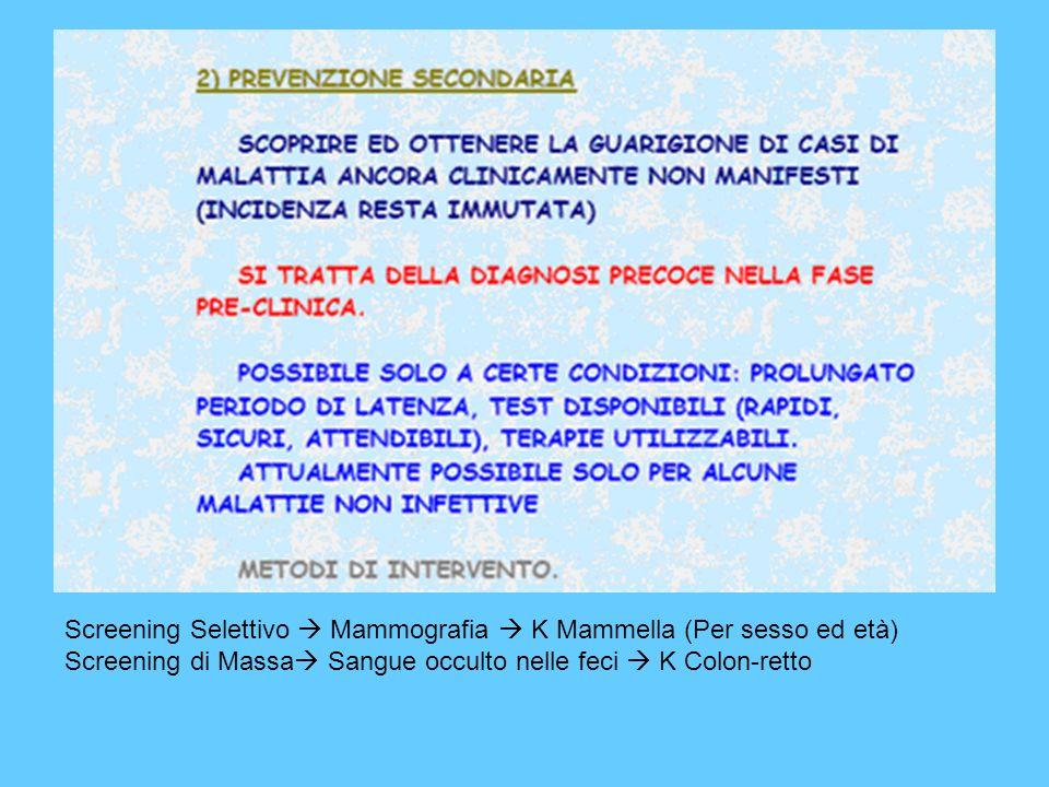 Screening Selettivo Mammografia K Mammella (Per sesso ed età) Screening di Massa Sangue occulto nelle feci K Colon-retto