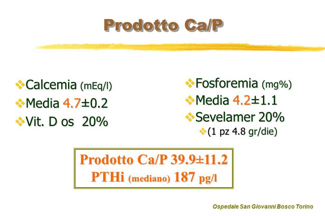 Prodotto Ca/P Calcemia (mEq/l) Calcemia (mEq/l) Media 4.7±0.2 Media 4.7±0.2 Vit.