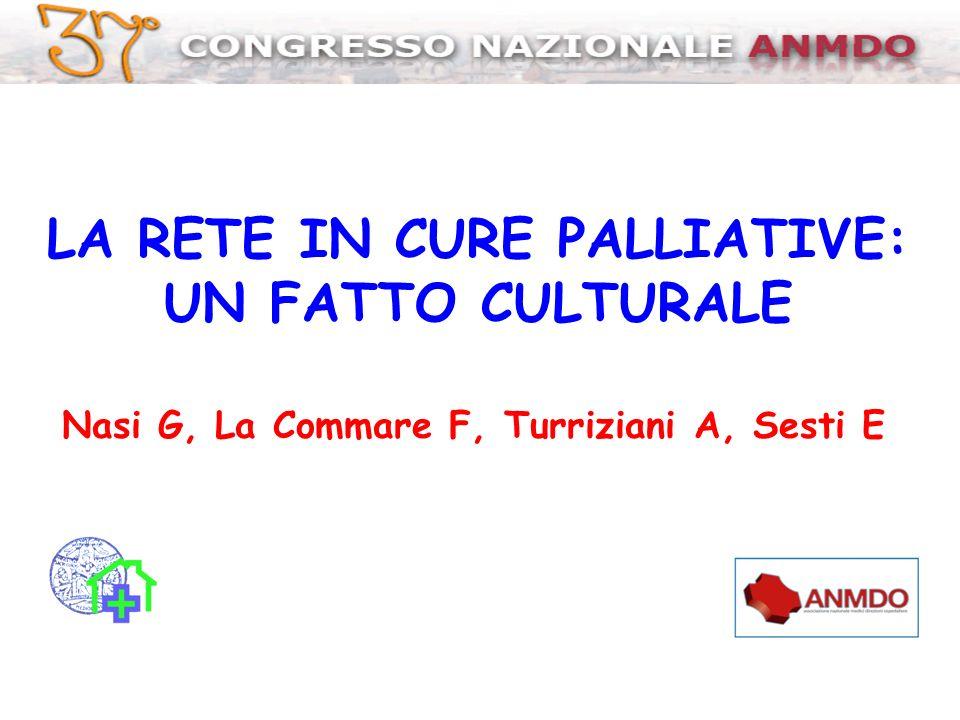 LA RETE IN CURE PALLIATIVE: UN FATTO CULTURALE Nasi G, La Commare F, Turriziani A, Sesti E