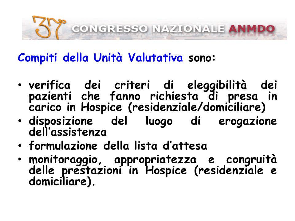 Compiti della Unità Valutativa sono: verifica dei criteri di eleggibilità dei pazienti che fanno richiesta di presa in carico in Hospice (residenziale