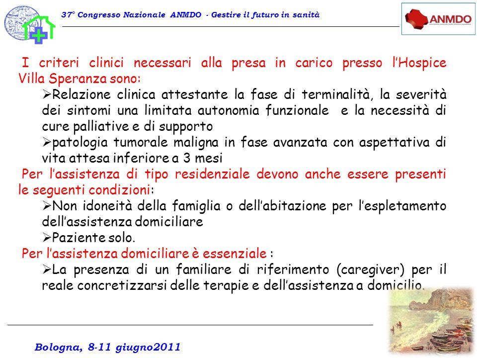 I criteri clinici necessari alla presa in carico presso lHospice Villa Speranza sono: Relazione clinica attestante la fase di terminalità, la severità