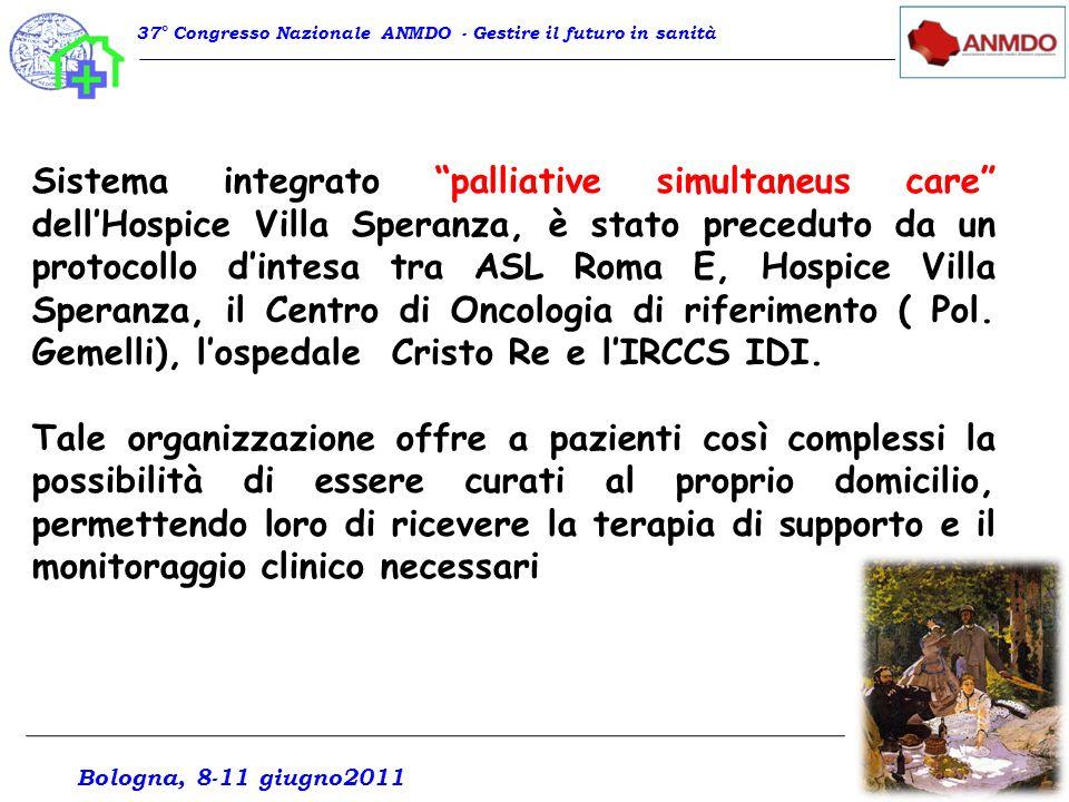 Sistema integrato palliative simultaneus care dellHospice Villa Speranza, è stato preceduto da un protocollo dintesa tra ASL Roma E, Hospice Villa Spe