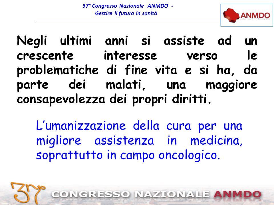 37° Congresso Nazionale ANMDO - Gestire il futuro in sanità Bologna, 8-11 giugno2011 Negli ultimi anni si assiste ad un crescente interesse verso le p