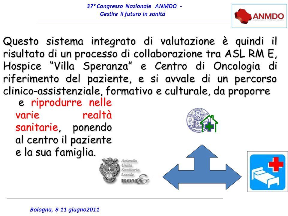 37° Congresso Nazionale ANMDO - Gestire il futuro in sanità Bologna, 8-11 giugno2011 Questo sistema integrato di valutazione è quindi il risultato di