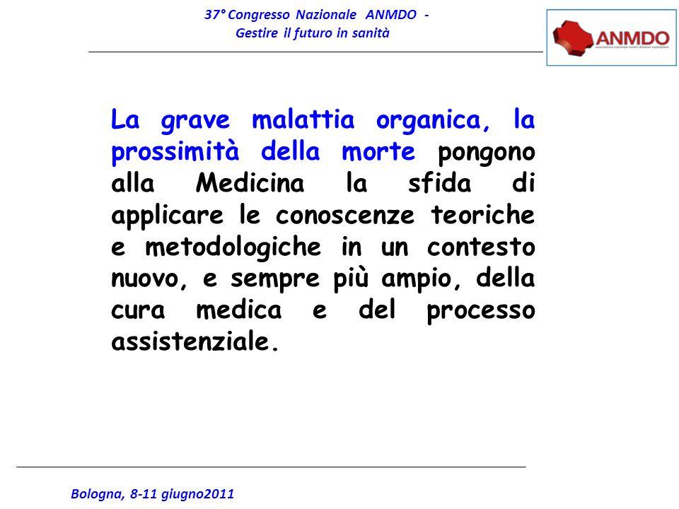 37° Congresso Nazionale ANMDO - Gestire il futuro in sanità Bologna, 8-11 giugno2011 La grave malattia organica, la prossimità della morte pongono all