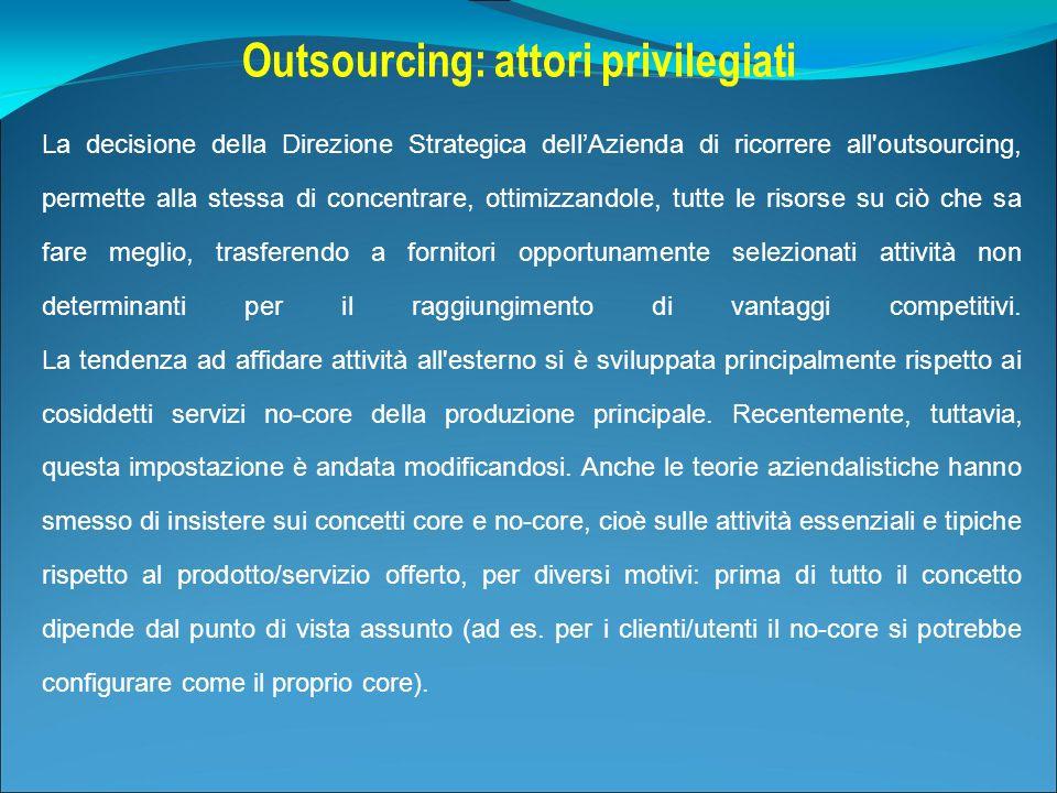 La decisione della Direzione Strategica dellAzienda di ricorrere all'outsourcing, permette alla stessa di concentrare, ottimizzandole, tutte le risors