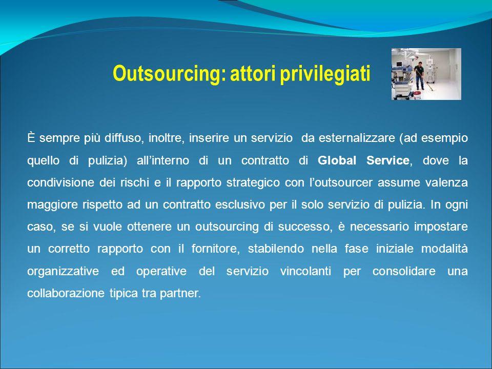 È sempre più diffuso, inoltre, inserire un servizio da esternalizzare (ad esempio quello di pulizia) allinterno di un contratto di Global Service, dov