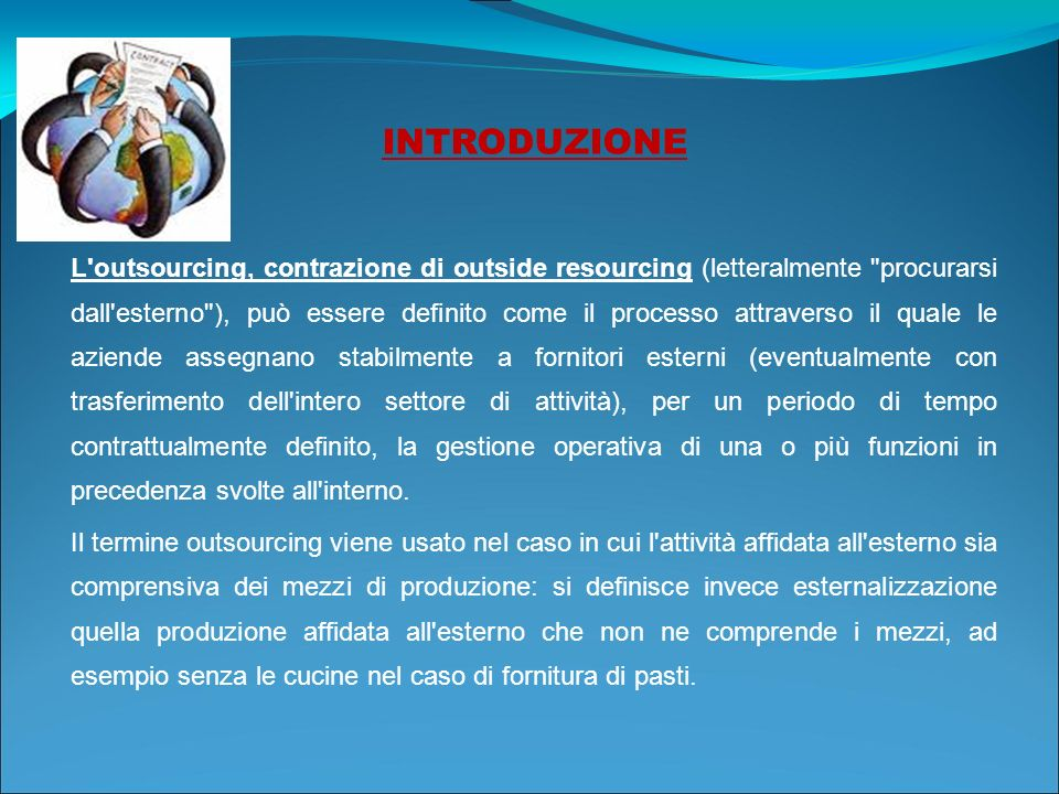 INTRODUZIONE L'outsourcing, contrazione di outside resourcing (letteralmente
