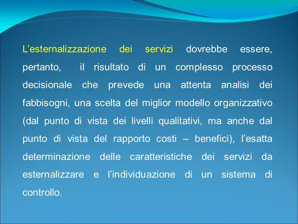 Lesternalizzazione dei servizi dovrebbe essere, pertanto, il risultato di un complesso processo decisionale che prevede una attenta analisi dei fabbis