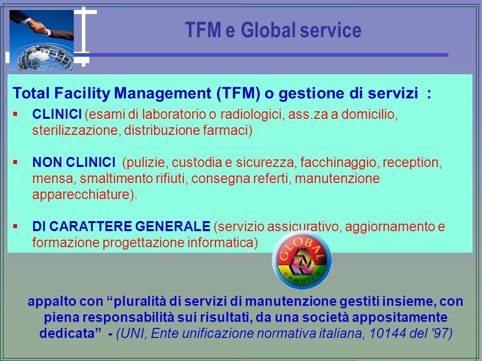 TFM e Global service Total Facility Management (TFM) o gestione di servizi : CLINICI (esami di laboratorio o radiologici, ass.za a domicilio, steriliz