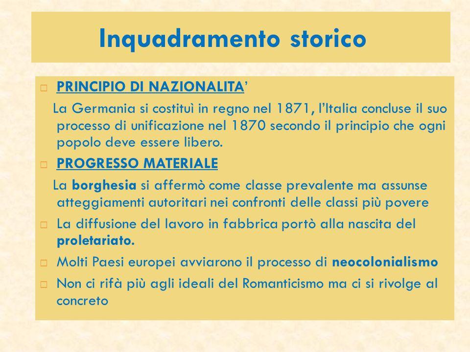 Inquadramento storico PRINCIPIO DI NAZIONALITA La Germania si costituì in regno nel 1871, lItalia concluse il suo processo di unificazione nel 1870 se
