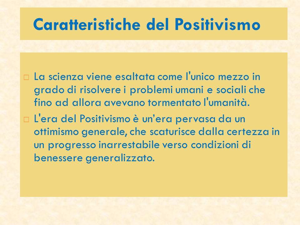 Caratteristiche del Positivismo La scienza viene esaltata come l'unico mezzo in grado di risolvere i problemi umani e sociali che fino ad allora aveva
