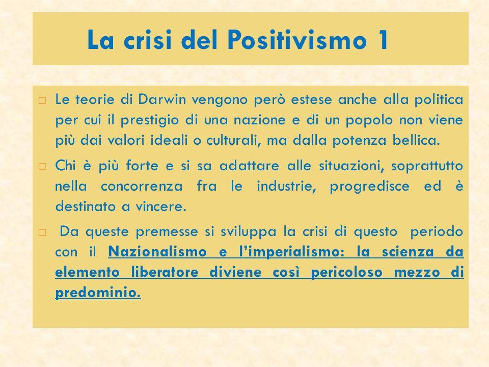 La crisi del Positivismo 1 Le teorie di Darwin vengono però estese anche alla politica per cui il prestigio di una nazione e di un popolo non viene pi