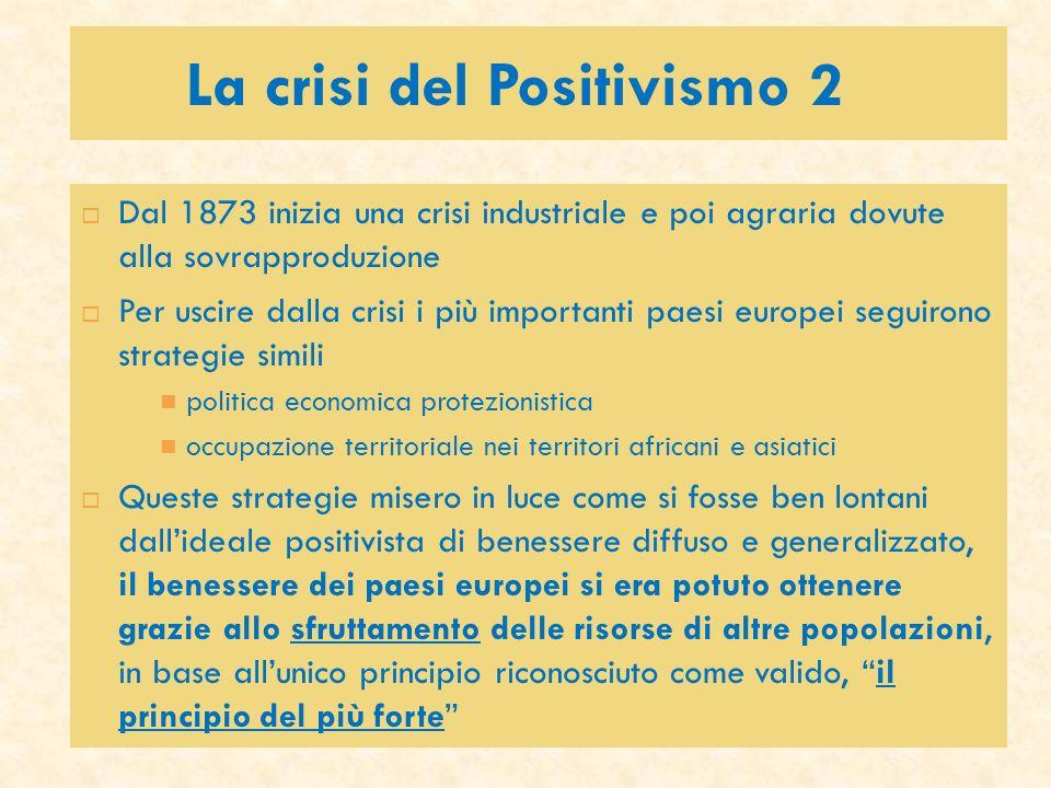 La crisi del Positivismo 2 Dal 1873 inizia una crisi industriale e poi agraria dovute alla sovrapproduzione Per uscire dalla crisi i più importanti pa