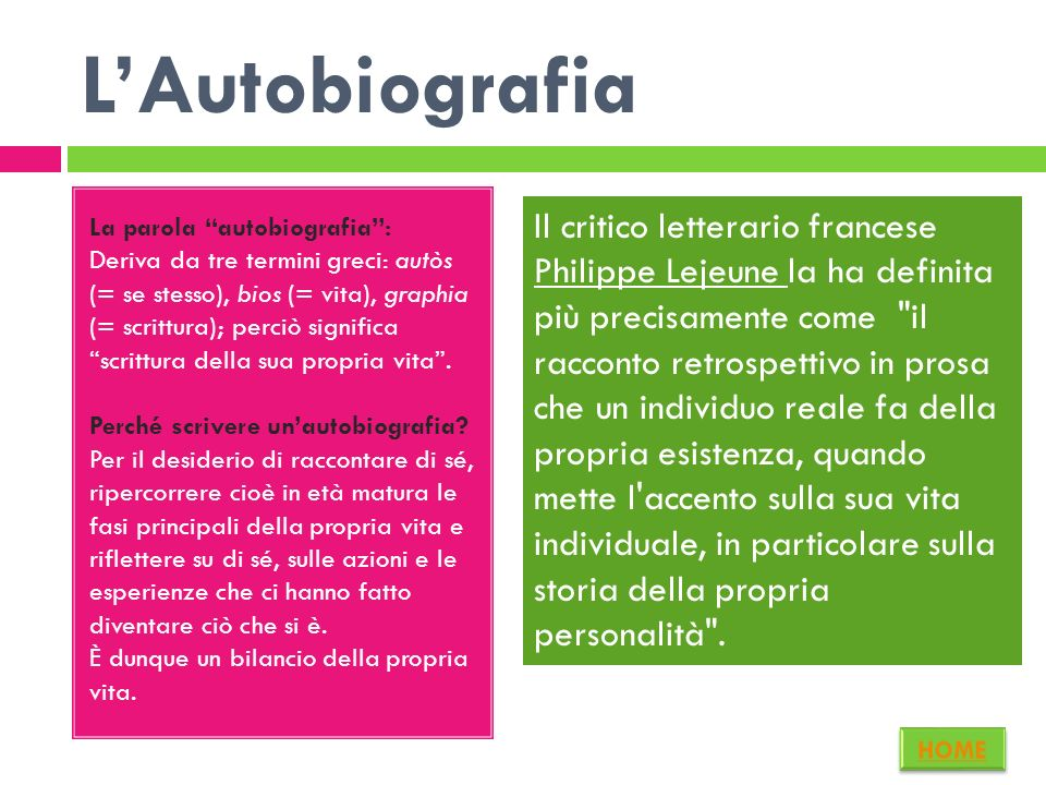 La parola autobiografia: Deriva da tre termini greci: autòs (= se stesso), bios (= vita), graphia (= scrittura); perciò significa scrittura della sua propria vita.