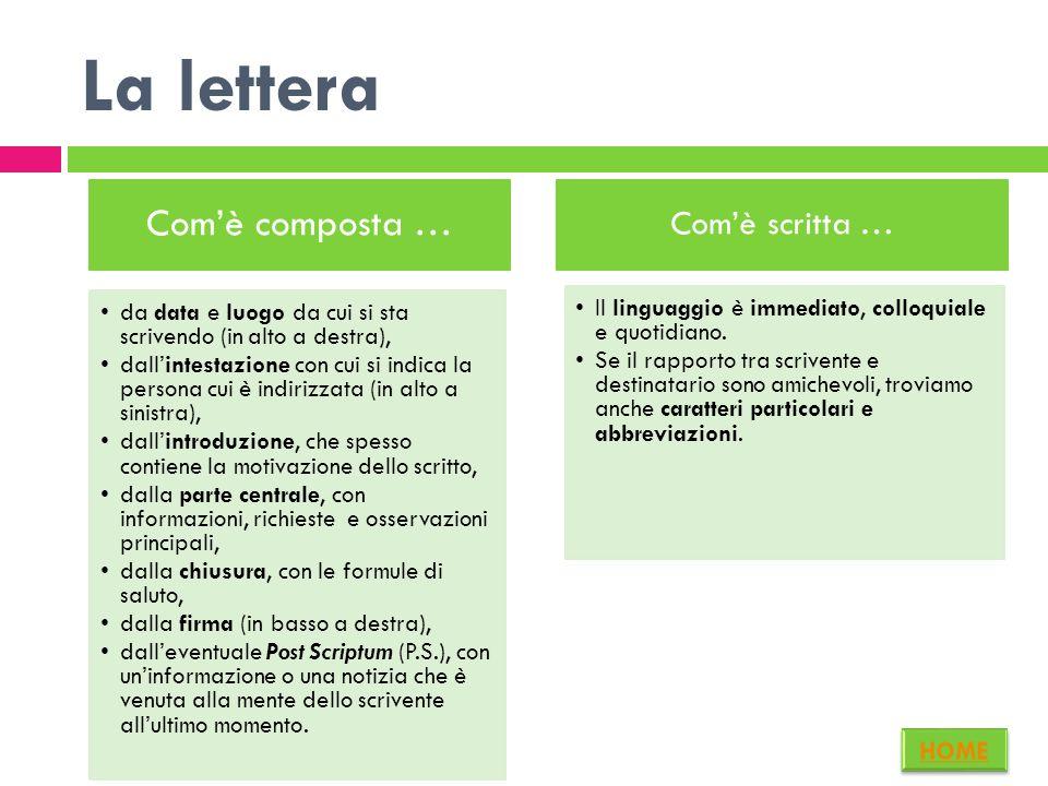 La lettera La pubblicazione: Le lettere personali vengono scritte per essere lette solo dal destinatario. Possono essere pubblicate quando si tratta d