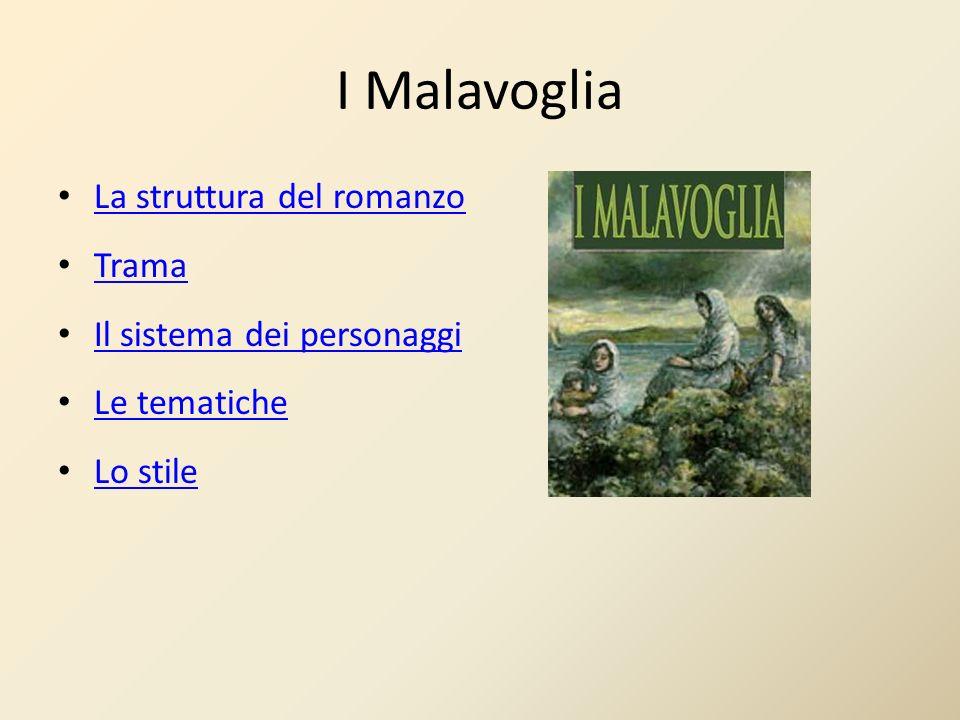 I Malavoglia La struttura del romanzo Trama Il sistema dei personaggi Le tematiche Lo stile