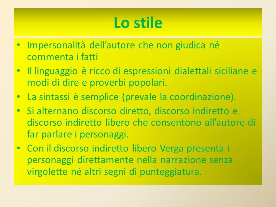 Lo stile Impersonalità dellautore che non giudica né commenta i fatti Il linguaggio è ricco di espressioni dialettali siciliane e modi di dire e prove