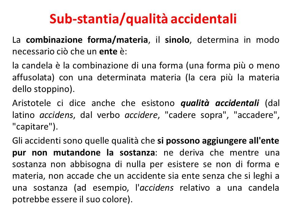 Sub-stantia/qualità accidentali La combinazione forma/materia, il sinolo, determina in modo necessario ciò che un ente è: la candela è la combinazione