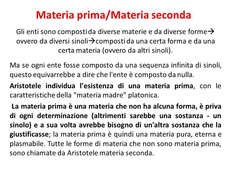 Materia prima/Materia seconda Gli enti sono composti da diverse materie e da diverse forme ovvero da diversi sinoli composti da una certa forma e da u