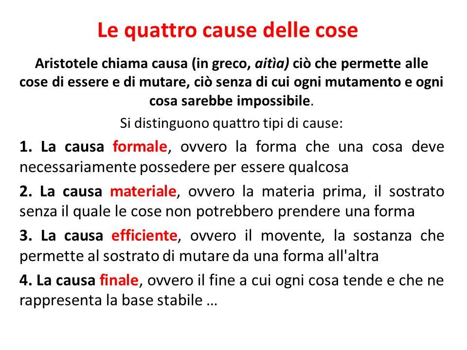 Le quattro cause delle cose Aristotele chiama causa (in greco, aitìa) ciò che permette alle cose di essere e di mutare, ciò senza di cui ogni mutament