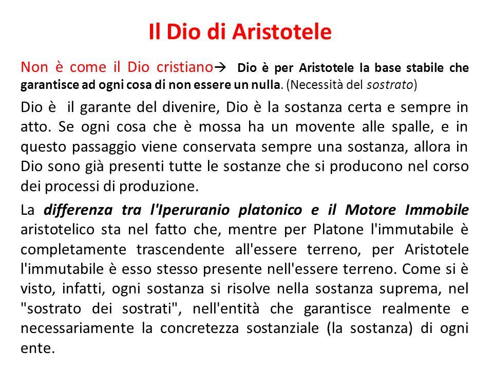Il Dio di Aristotele Non è come il Dio cristiano Dio è per Aristotele la base stabile che garantisce ad ogni cosa di non essere un nulla. (Necessità d