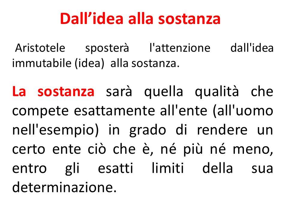 Dallidea alla sostanza Aristotele sposterà l'attenzione dall'idea immutabile (idea) alla sostanza. La sostanza sarà quella qualità che compete esattam