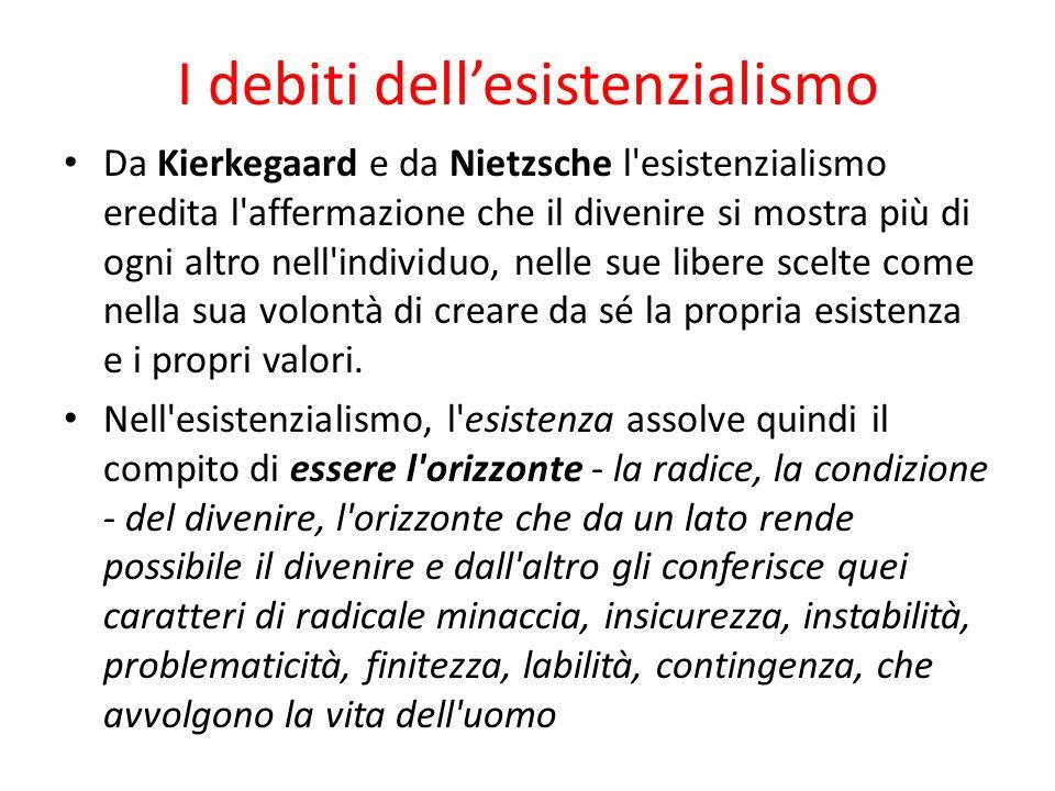 I debiti dellesistenzialismo Da Kierkegaard e da Nietzsche l'esistenzialismo eredita l'affermazione che il divenire si mostra più di ogni altro nell'i