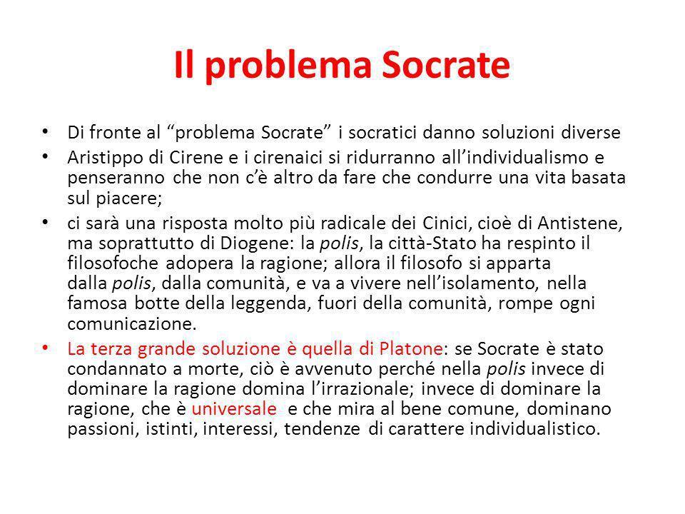 Il problema Socrate Di fronte al problema Socrate i socratici danno soluzioni diverse Aristippo di Cirene e i cirenaici si ridurranno allindividualism