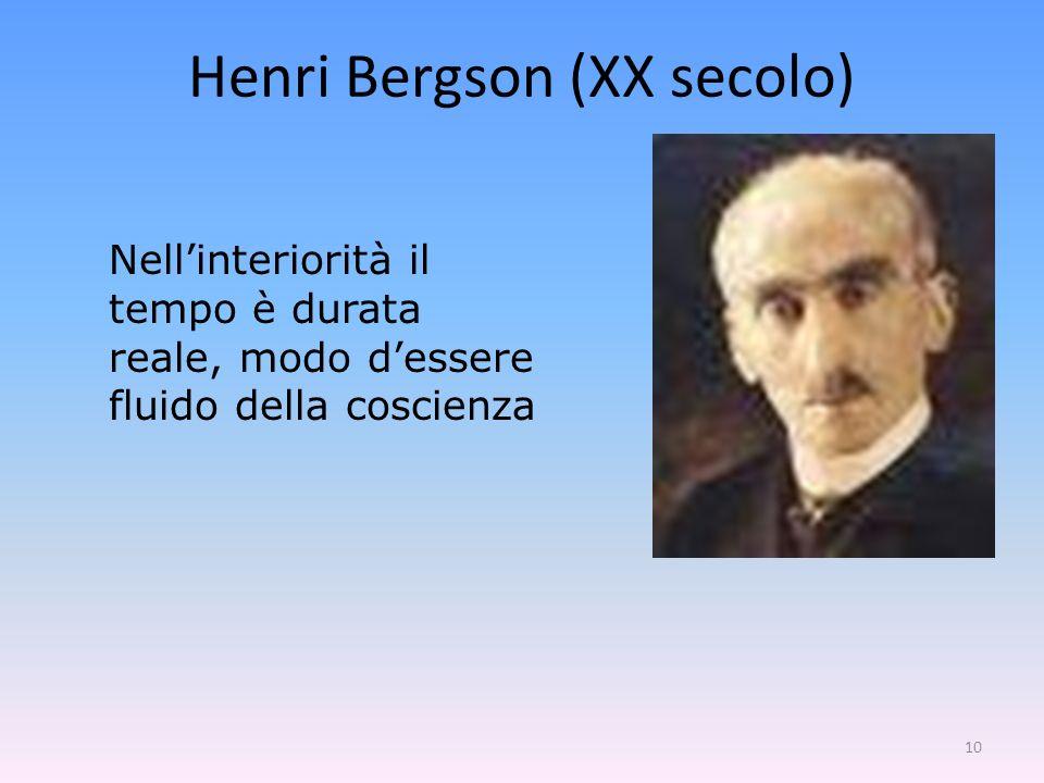 10 Nellinteriorità il tempo è durata reale, modo dessere fluido della coscienza Henri Bergson (XX secolo)