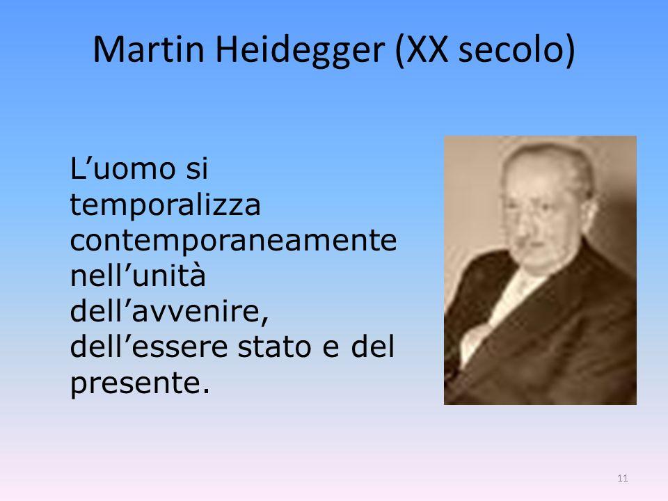 11 Luomo si temporalizza contemporaneamente nellunità dellavvenire, dellessere stato e del presente. Martin Heidegger (XX secolo)